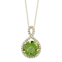 14K_Yellow_Gold_Round_Peridot_&_Round_Diamond_Halo_Pendant,_0.28cttw
