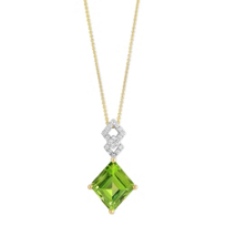 14K_Yellow_Gold_Square_Cut_Peridot_and_Round_Diamond_Pendant