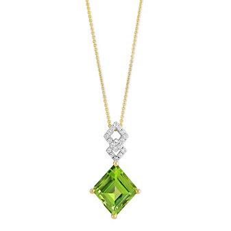 14K Yellow Gold Square Cut Peridot and Round Diamond Pendant