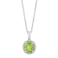 14K_White_Gold_Oval_Checkerboard_Peridot_and_Diamond_Pendant,_18""