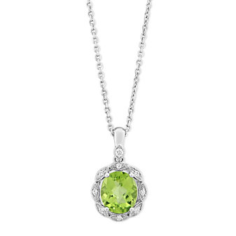 14K White Gold Oval Checkerboard Peridot and Diamond Pendant, 18""