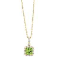 14K_Yellow_Gold_Cushion_Peridot_and_Diamond_Halo_Pendant,_18""