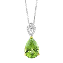 14K_White_and_Yellow_Gold_Pear_Shaped_Peridot_and_Diamond_Bail_Pendant,_18""