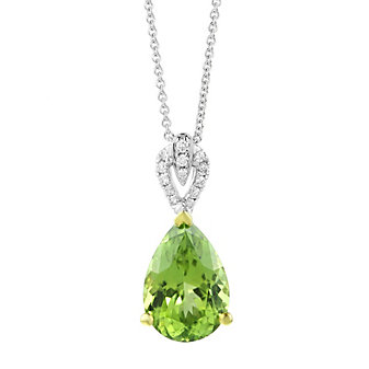 14K White and Yellow Gold Pear Shaped Peridot and Diamond Bail Pendant, 18""