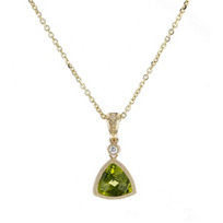14k_yellow_gold_checkerboard_trillion_peridot_&_diamond_milgrain_bezel_pendant,_18""
