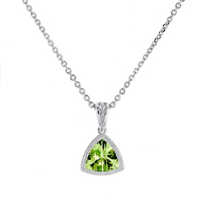 14k_yellow_gold_checkerboard_trillion_peridot_milgrain_bezel_pendant,_18""