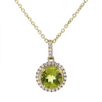 14k_yellow_gold_checkerboard_round_peridot_&_diamond_halo_pendant,_18""