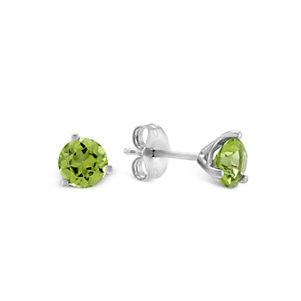 14K White Gold Round Peridot Stud Earrings, 5mm
