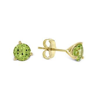 14K Yellow Gold Round Peridot Stud Earrings, 5mm