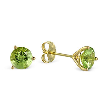 14K Yellow Gold Peridot Stud Earrings, 6mm