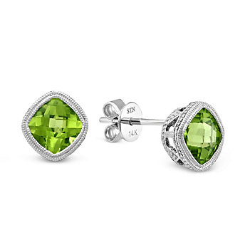 14K White Gold Cushion Checkerboard Peridot Bezel Set Earrings