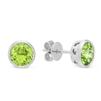 14K_White_Gold_Round_Checkerboard_Peridot_Bezel_Set_Stud_Earrings,_6mm