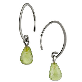 14K White Gold Briolette Peridot Drop Earrings