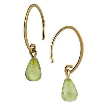 14K Yellow Gold Small Briolette Peridot Earrings