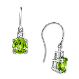 14K White Gold Checkerboard Cushion Peridot and Round Diamond Earrings