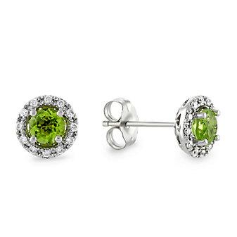 14K White Gold Round Peridot & Round Diamond Halo Earrings