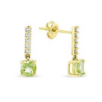 14k yellow gold cushion peridot & diamond bar drop earrings