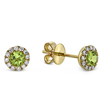 14K Yellow Gold Peridot and Round Diamond Halo Earrings
