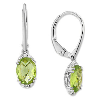 14K White Gold Oval Peridot and Round Diamond Drop Earrings