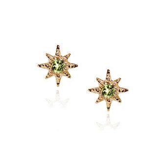 Anzie 14K Yellow Gold Micro Aztec Starburst Peridot Stud Earrings