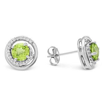 14K White Gold Peridot & Round Diamond Swirl Earrings