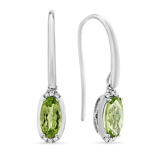 14K White Gold Checkerboard Oval Peridot and Diamond Drop Earrings