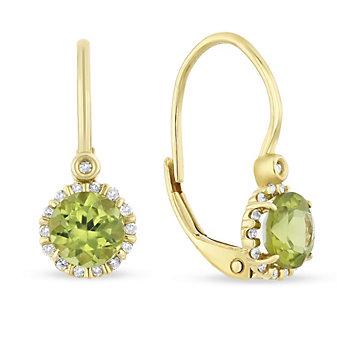 14k yellow gold round peridot & diamond leverback earrings