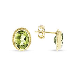 14k yellow gold oval peridot twisted bezel post earrings