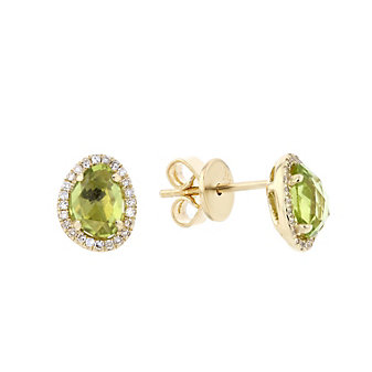 14k yellow gold checkerboard peridot & diamond halo freeform post earrings