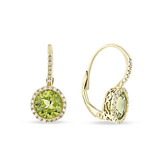 14k rose gold round peridot & diamond halo leverback earrings