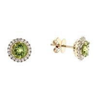 14k_yellow_gold_checkerboard_round_peridot_&_diamond_halo_stud_earrings