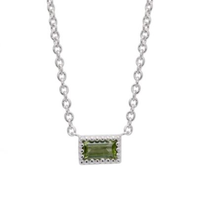 14K White Gold Baguette Peridot Necklace