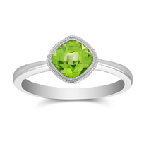 14K_White_Gold_Cushion_Checkerboard_Peridot_Bezel_Set_Ring