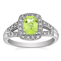 14K_White_Gold_Cushion_Checkerboard_Peridot_and_Round_Diamond_Split_Shank_Ring