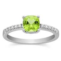 14K_White_Gold_Cushion_Peridot_and_Round_Diamond_Ring