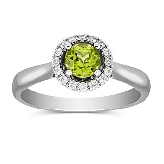 14K White Gold Round Peridot and Round Diamond Halo Ring