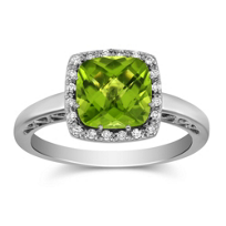 14K_White_Gold_Checkerboard_Cushion_Peridot_and_Round_Diamond_Ring