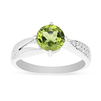 14k white gold peridot & diamond shank ring