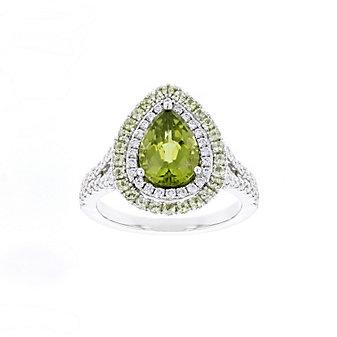 18k white gold pear shaped peridot ring with diamond & peridot halo