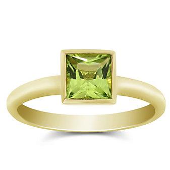 14K Yellow Gold Bezel Set Princess Cut Peridot Ring