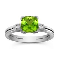 14K_White_Gold_Cushion_Peridot_and_Round_Diamond_Ring