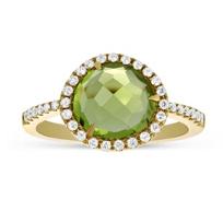 14K_Yellow_Gold_Rose_Cut_Peridot_&_Round_Diamond_Ring