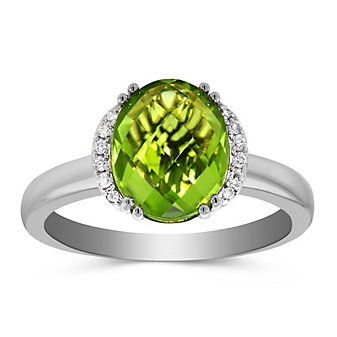 14K White Gold Oval Peridot and Round Diamond Ring