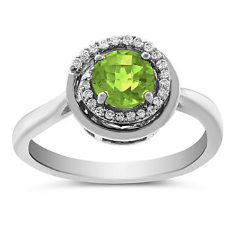 14K White Gold Round Checkerboard Peridot and Diamond Ring