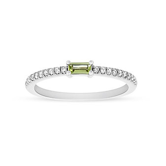 14K White Gold Baguette Peridot and Round Diamond Ring