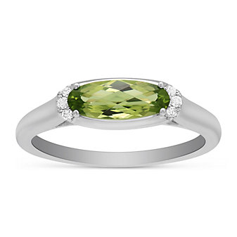 14K White Gold Oval Peridot and Round Diamond East West Ring