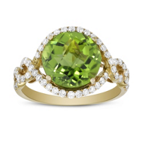 14K_White_Gold_Peridot_&_Round_Diamond_Halo_Ring_With_Criss_Cross_Shank