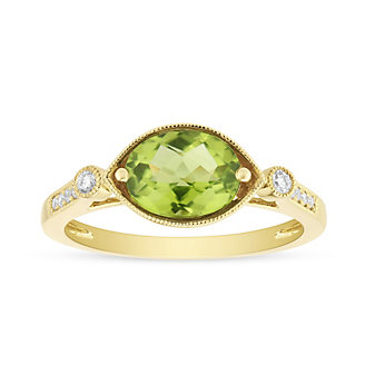 14K Yellow Gold Oval Peridot and Round Diamond Milgrain East West Ring