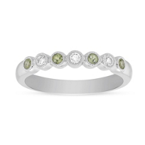 14K_White_Gold_Round_Peridot_and_Round_Diamond_Bezel_Set_Milgrain_Ring