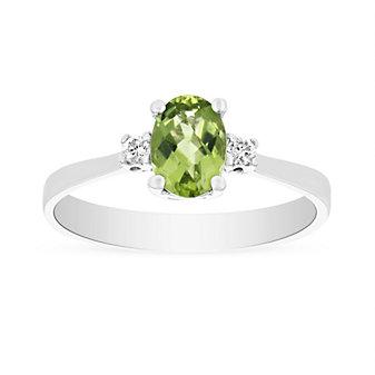 14k white gold checkerboard oval peridot & diamond 3 stone ring